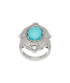 Look what I found on #zulily! Turquoise & Diamonique® Sterling Silver Pineapple-Cut Ring #zulilyfinds