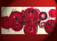 LARGE 30x15 - Original Painting - Abstract Expressionism Art - Round Cherry Red Circles - Modern Abstract Art - 1250.103112