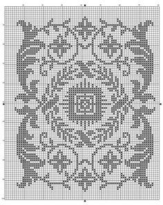 Rectangle 02   Free chart for cross-stitch, filet crochet   gancedo.eu