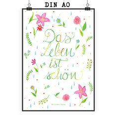 Poster DIN A0 Blumen Das Leben ist schön aus Papier 160 Gramm  weiß - Das Original von Mr. & Mrs. Panda.  Jedes wunderschöne Poster aus dem Hause Mr. & Mrs. Panda ist mit Liebe handgezeichnet und entworfen. Wir liefern es sicher und schnell im Format DIN A0 zu dir nach Hause. Das Format ist 841 mm x 1189 mm.    Über unser Motiv Blumen Das Leben ist schön  Das Leben hat so viel zu bieten, auch in schweren Zeiten. Man muss es nur wahrnehmen. Das Leben ist schön!    Verwendete Materialien  Es…
