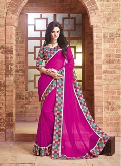 Compelling Magenta Contemporary Style Saree