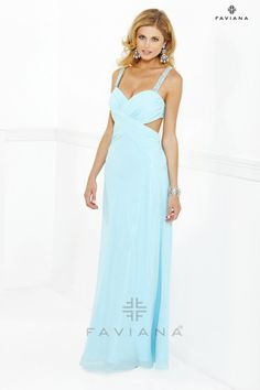 Faviana 7119 blue prom gown