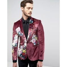 ASOS Super Skinny Suit Jacket In Burgundy Velvet With Floral Print ($130) ❤ liked on Polyvore featuring men's fashion, men's clothing, men's suits, red, mens skinny suits, asos mens clothing, asos mens suits, tall mens clothing and mens skinny fit suits