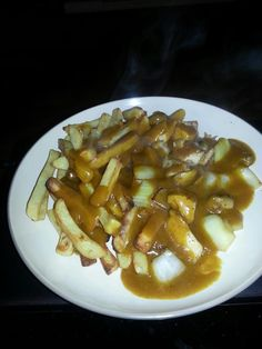 Slimming world chips, mayflower curry sauce with onions & mushrooms