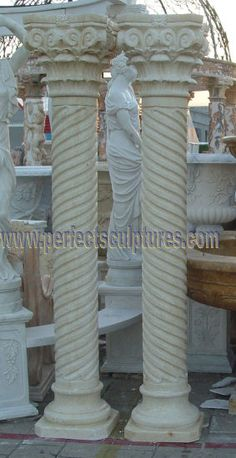 Decorative Roman Pillar with Stone Marble Granite Sandstone - China Rom. Roman Columns, Marble Columns, Stone Columns, Marble Pillar, Marble Carving, Stone Carving, Pillar Design, Column Design, Corinthian