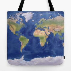 World Map Tote Bag Modern topographical atlas map by Mapology