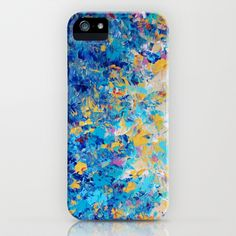 """""""Hypnotic Blue Sunset"""" by Ebi Emporium on Society 6, Colorful Blue Turquoise Cream Yellow White Ocean Waves Ombre Splash Nature Whimsical Abstract Acrylic Textural Painting Design Tech Device Case, iPhone 4 5 5s 5c 6 Plus Case, iPod, Samsung Galaxy S3 S4 S5 Case, Stylish Fine Art Techie Cover #tech #case #iPhone #iPod #SamsungGalaxy #colorful #fineart #art #cover #elegant #sunset #ombre"""