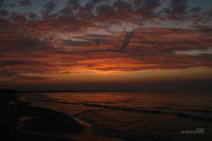 Warszow beach, Poland, Swinoujscie, red sky, sunset, sea