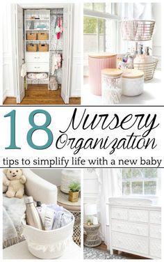 Nursery organization strategies to keep feeding, clothing, and diapering essentials easy to navigate and make baby care less stressful. #nurseryorganization #newborn