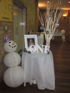 winter, snowmen, snowflakes, purple and white Birthday Party Ideas | Photo 11 of 38 | Catch My Party