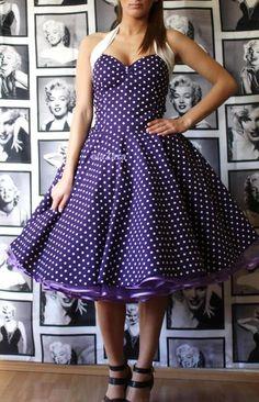 Petticoatkleid in Lila mit weißen Punkten von elaZara auf DaWanda.com