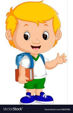 Cute boy go to school Royalty Free Vector Image Student Cartoon, School Cartoon, Girl Cartoon, Art Drawings For Kids, Drawing For Kids, Art Classroom Decor, Box Frame Art, Chibi Boy, Adobe Illustrator