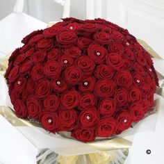 Ultimate 100 Rose Hand tied* *  This  is the ultimate Valentine's gift - a truly magnificent display of 100 Grand Prix roses. This luxuriously rich and sumptuous bouquet of the finest red roses is interspersed throughout with sparkling diamanté pins to create the most amazing romantic gift for your true love.   Price: £499.99 #ValentinesDay #RedRoses #Roses #Valentines #LuxuryRoses