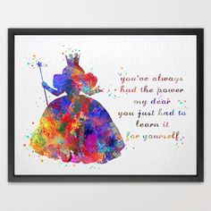 Dignovel Studios 8X10 Glinda the Good Witch Wizard of Oz Watercolor print illustrations art home decor wall art disney art nursery art Cult Movie Poster N426
