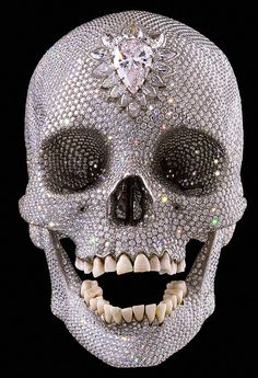 """For the Love of God"" by Damien Hirst (2007)  Sold for £500000000 in 2007. http://en.wikipedia.org/wiki/For_the_Love_of_God #skull #jewels #diamonds"