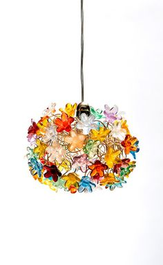 Blossom Ceiling Pendant Light /HandMade / Colorful flowers Red, Yellow, Orange, Green, Blue & pink