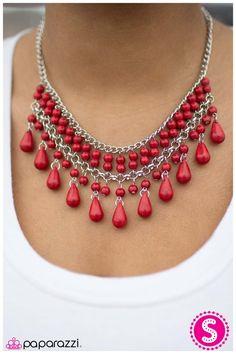 Daredevil - Red   www.paparazziaccessories.com/35304 Beaded Jewelry Designs, Bead Jewellery, Necklace Designs, Handmade Jewelry, Coral Jewelry, Bridal Jewelry, Red Necklace, Beaded Necklace, Paparazzi Jewelry