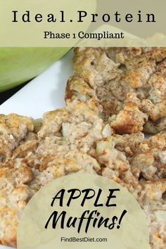 ideal protein recipes phase 1 dinner Ideal Protein Phase 1 Apple Oatmeal Muffins with a secret ingredient! Yummy breakfast that makes use of packets Protein Desserts, Protein Muffins, Protein Mug Cakes, Protein Oatmeal, Protein Breakfast, Protein Foods, Protein Recipes, Fast Metabolism Recipes, Fast Metabolism Diet
