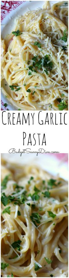 Creamy and Delicious! Done in about 30 minutes - Perfect weekday meal - my family cannot wait till I make it again - Must Make Recipe - Easy Recipe Alert - Creamy Garlic Pasta Recipe