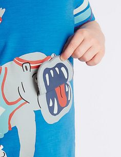 Pure Cotton Hippo Print T-Shirt with Fun Mouth Flap (1-7 Years)   M&S
