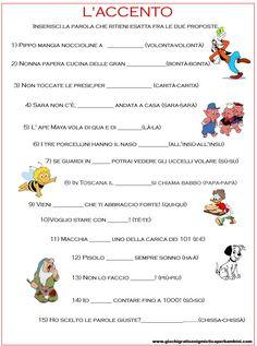 Scheda didattica per la seconda elementare l'accento Italian Words, Learning Italian, School Lessons, School Life, Home Schooling, Google Images, Homeschool, Coding, L2