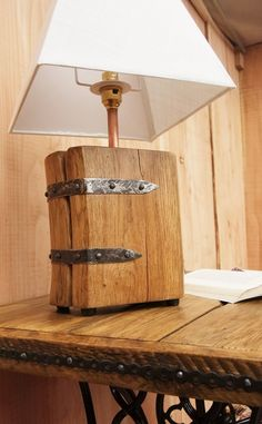 Handmade Solid Oak And Reclaimed Steel Lamp Base