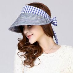 Plaid bow sun visor hat for women summer riding wear