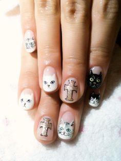 cat nails HAHAHA Kittiyachavalit Kittiyachavalit Ceiling cat and basement cat LOL Cross Nail Designs, Simple Nail Art Designs, Colorful Nail Designs, Cat Nail Art, Cat Nails, Garra, Cat Lol, Love Nails, Pretty Nails