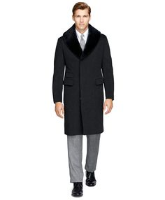 Shearling Collar Chesterfield CoatCharcoal