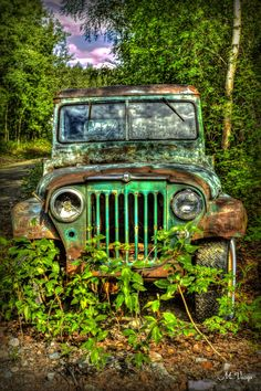 Old Jeep by Martin Varga on abandoned Jeep in the woods Jeep Cj7, Jeep Wagoneer, Jeep Wrangler Tj, Atv Car, Green Jeep, Bike Photoshoot, Old Jeep, Jeep Accessories, Abandoned Cars