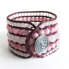 Rose Quartz and Pink Jade Gemstone #Handmade Cuff #Bracelet by #CrystalBazaar  http://www.artfire.com/ext/shop/product_view/CrystalBazaar/5039548
