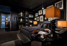 #Masculine bedrooms with dark #hues and different shades of black