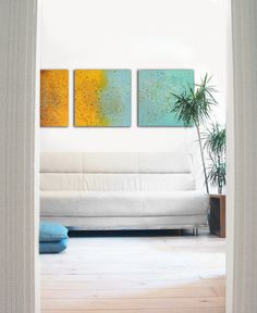 "Sunny Stream serie of three - Abstract paintings - Modern Acrylic Art - 19.7"" x 19.7"" Ronald Hunter paintings"