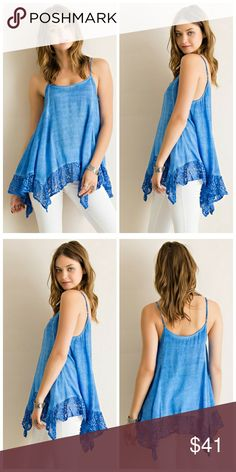 Lovely Blue Top Acid wash trapeze tank top featuring handkerchief hem with lace border. Non sheer. Lightweight.   100% rayon Tops Tank Tops
