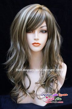 Blonde Highlights Discover feminine Flirty wig with natural beachy wave off center part with full bangs Lightest Ash Brown and Blonde mix color Brown Hair With Silver Highlights, Platinum Blonde Highlights, Brown Blonde Hair, Hair Color Highlights, Brown And Silver Hair, Gray Hair, Highlights With Lowlights, Blonde Peekaboo Highlights, Thick Highlights