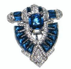 Vintage Signed KTF for Trifari Pave Blue Rhinestone Dress Clip | eBay