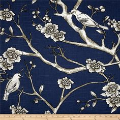 CURTAINS Dwell Studio Vintage Blossom Slub Twilight Designed by Dwell Studio for Robert Allen Home