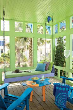 Colorful Coastal Porch Swing
