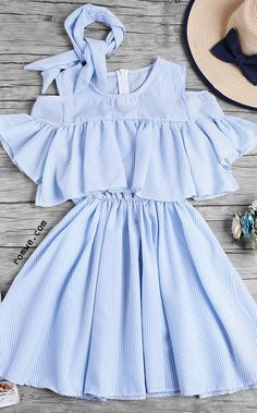 Open Shoulder Fluted Sleeve Striped Frill Dress With Ribbons