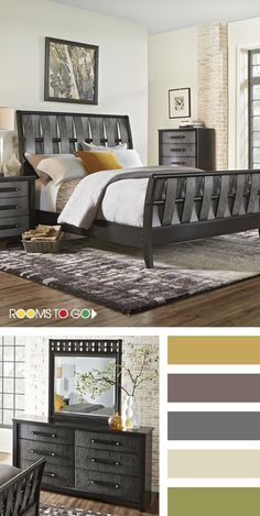 Get some bedroom color palette inspiration from our Bedford Heights set. With pieces constructed of quality hardwood solids and gray veneers, the two-tone black and gray finish on each piece creates a delightfully enjoyable contrast of colors. Adding in a mustard yellow and jewel tones create a bold statement and transitional style. Shop this room and find other color palette inspiration now!