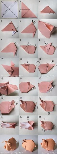 Origami Schwein – How to make Origami Design, Diy Origami, Origami Pig, Origami Simple, Origami Love Heart, Origami Mouse, Origami Star Box, Origami Dragon, Useful Origami