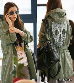 Lovely Army Jacket with Skull Skeleton - Army Girl