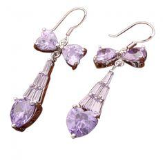 Bow and Water Drop Zircon Earring Purple