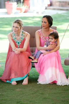 obsessed with these gorgeous indo-pak indian pakistani style anarkali maxi dresses in shades of pink, coral and turquoise with embellished necklines | dresses for outdoor weddings