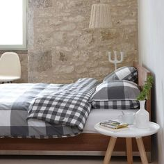 Walra duvet cover Portland - grey - squares - cotton - double face bedding - bedroom styling by www. Decor, Furniture, Interior Inspiration, Home, Bed, Elle Decor, Duvet Covers, Bedroom Styles, Dutch Decor