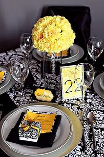 Black and yellow wedding colors. Red black and yellow wedding colors. Wedding colors black and yellow. Black and yellow wedding colors. White Table Settings, Wedding Table Settings, Place Settings, Wedding Tables, Reception Table, Reception Ideas, Wedding Reception, Mellow Yellow, Yellow Black