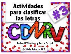 Actividades para clasificar las letras  Dd, Rr, Vv, Nn y Cc en español, incluyendo identificación de letras, sonidos iniciales y dibujos.