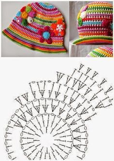 Cuffia Adorable rainbow crochet hat + diagram / chart Tutorial for Crochet, Knitting, Crafts., Adorable rainbow crochet hat + diagram / chart No dire Today I met these two gorgeous hats of child crochet. Do not leave beautiful?That& so pretty Hello g Bonnet Crochet, Crochet Cap, Crochet Diagram, Crochet Beanie, Diy Crochet, Crochet Crafts, Crochet Stitches, Crochet Projects, Diagram Chart