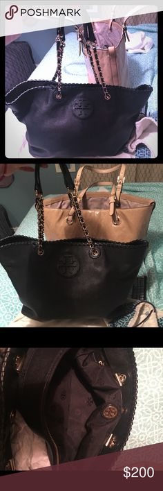 Tory burch Marion Read description and pictures! Perfect Christmas gift. Has two flaws that are pictured. This is the medium size bag. Not the large.  This is a slouchy style does not stand on its own.Please read and view pictures before buying to avoid problems. Thanks Tory Burch Bags Totes