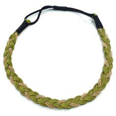 Headband tressé €12.90 http://www.rougecaramel.com/headbands/930-headband-tresse-chaine-et-daim-vert.html#